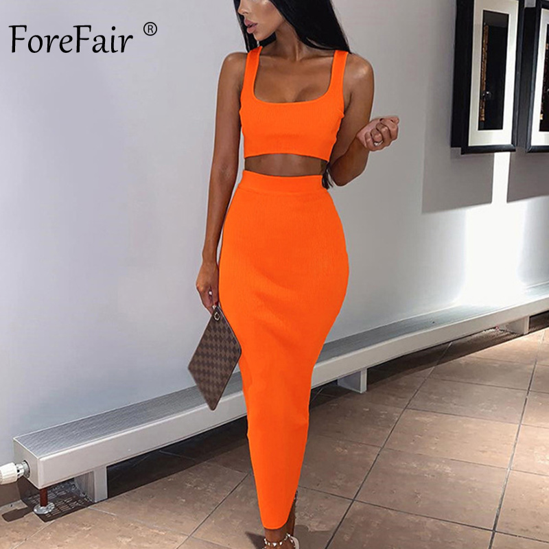 Forefair Two Piece Dress Women Summer Set Neon Pink Green Orange Off Shoulder 2 PCS Party Club Ribbed Knitted Sexy Midi Dress