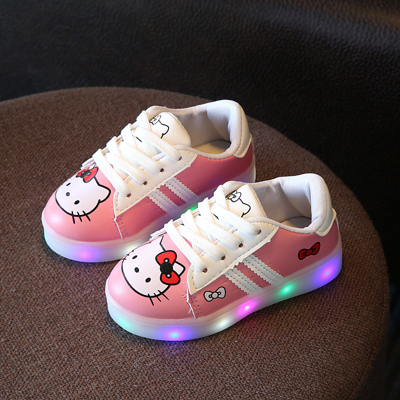 2017 Spring Hello Kitty LED Shoes Kids Luminous Casual Sneakers Glowing Shoes for Kids Girls Baby Children Shoes with Light