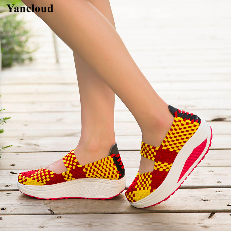 ФОТО New 2017 Spring Summer Hand Knit Woven Wedges Shoes for Women Breathable Mary Jane Shoes Woman Light Walking Footwear