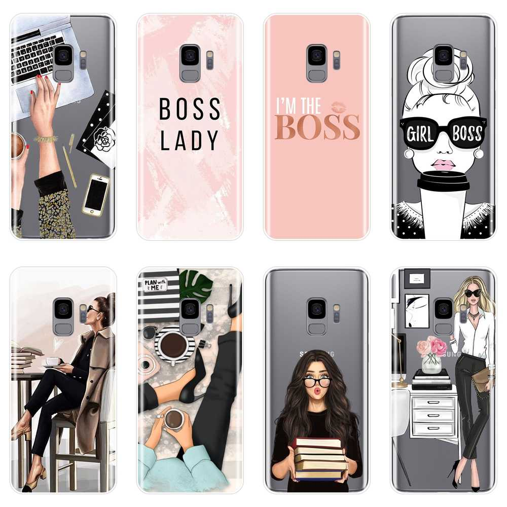 Girl Boss Pink Women Phone Case For Samsung Galaxy Note 9 8 5 4 Silicone Soft Back Cover For Samsung S8 S9 Plus S5 S6 S7 Edge