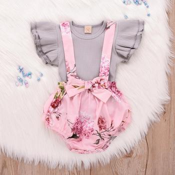 2019 enfant en bas âge bébé fille vêtements sans manches volants hauts ensemble Floral court vêtements ensemble filles vêtements ensemble costume enfants