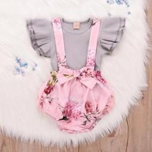 Baby Girl Clothes Set Ruffle Tops Overall Floral