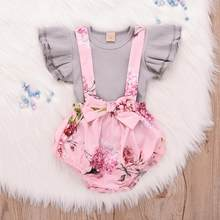 2019 Toddler Infant Baby Girl clothes Sleeveless Ruffle Tops Overall Floral Short Clothes Set girls clothing set costume kids(China)