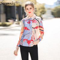 Svoryxiu Floral Print Female Blouse Shirt 2018 Designer Brand Spring Summer Cool Long Sleeve Blouse Women