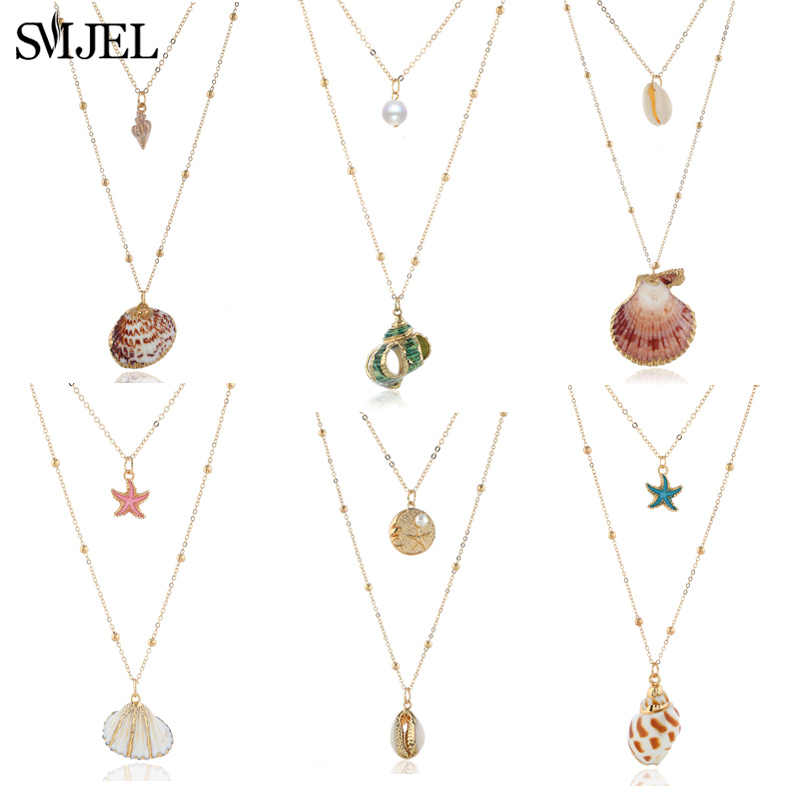 SMJEL Boho Shell Star Necklace Choker Conch Seashell Necklace Pendants For Women Collier Femme Romantic Cowrie Summer Jewelry