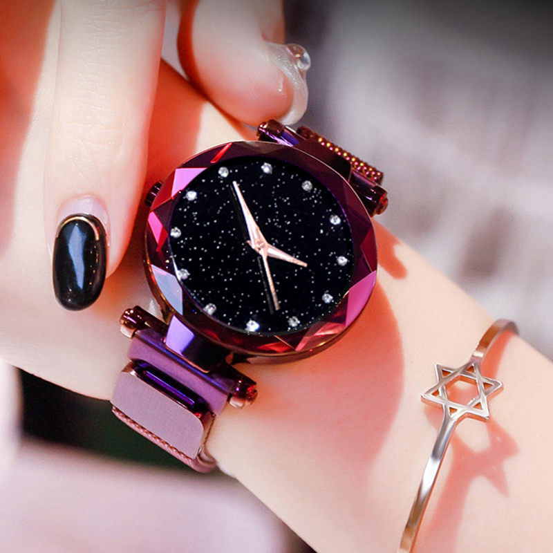 Women Starry Sky font b Watch b font Luxury Magnetic Buckle Mesh Band Quartz Wristwatch Female