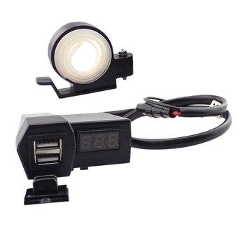 "цена на 1 Pcs Universal DC 12V 7/8"" & 1"" Motorcycle ATV Handlebar Dual USB Socket Charger Power Adapter For Mobile Phone GPS MP3 Etc"