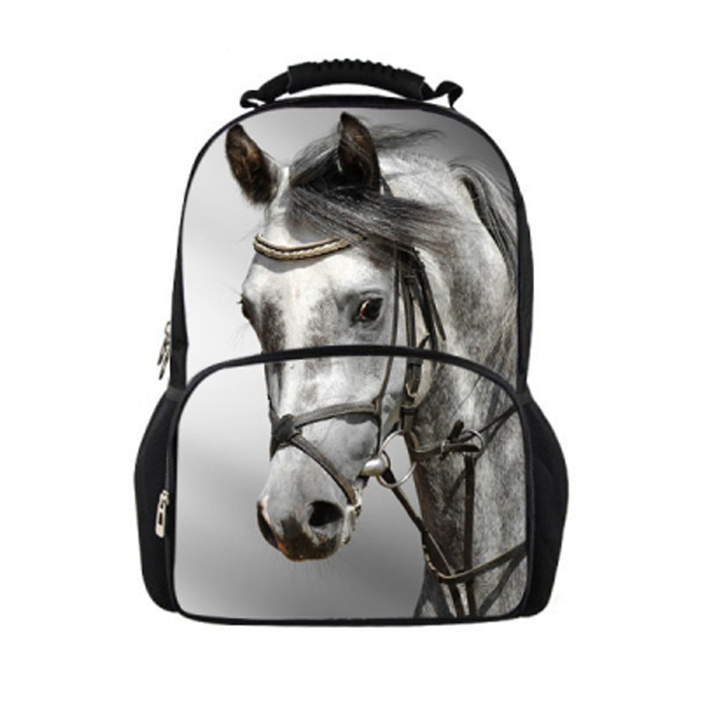 Hot Animal Children Kids School Backpack 3D Crazy Horse Print Men's Backpacks Large Capacity Rucksack for Boys Travel Backpack