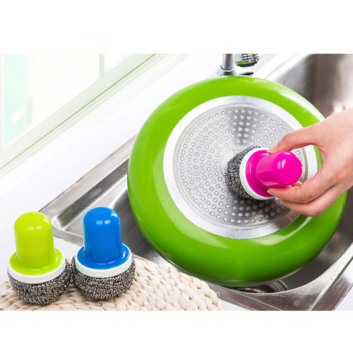 Kitchen Cleaner Brush: Novelty Colorful Steel Wire Ball Cleaning Brush With