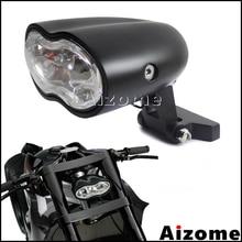 Faro delantero personalizado para motocicleta lámpara de cabeza H3 55W, ovalada, de calle, doble luz frontal gemelos, para Harley Cafe Racer