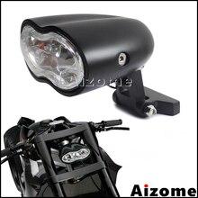 Farol para motocicleta h3 55w, farol personalizado, com lâmpada dupla gêmea, para harley cafe racer