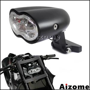 Image 1 - مصباح أمامي مخصص للدراجات النارية H3 55 واط كشافات أمامية بيضاوية بمصباح أمامي مزدوج لدراجة Harley Cafe Racer