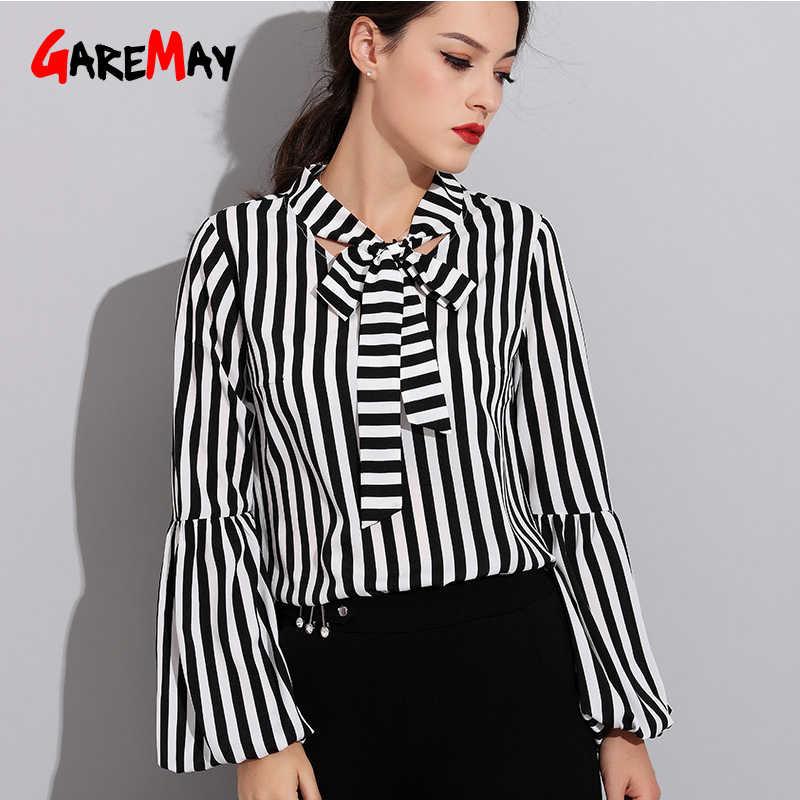 dd9015cf0 ... Negro Blanco rayas camisas otoño arco Oficina blusas Oficina blusa mujeres  manga larga Casual Tops blusa ...