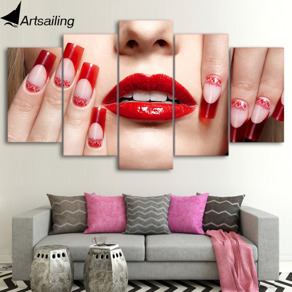 Hot Sale Artsailing 5 Panel Canvas Wall Art Red Lips Nail Art