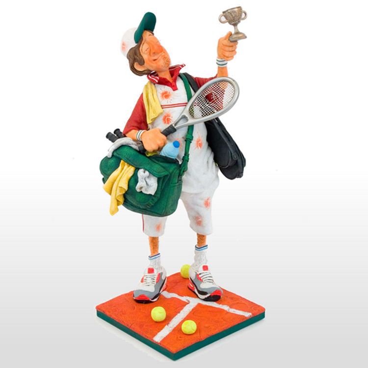 French Master of Humor Art Decorated with Birthday Gifts of Tennis Champion Statue lawyer character crafts Old image