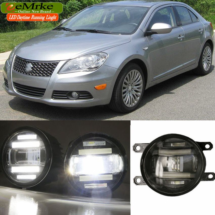 eeMrke Xenon White High Power 2in1 LED DRL Projector Fog Lamp With Lens For Suzuki Kizashi 2011 - up eemrke xenon white high power 2in1 led drl projector fog lamp with lens for suzuki sx4 2008 2016