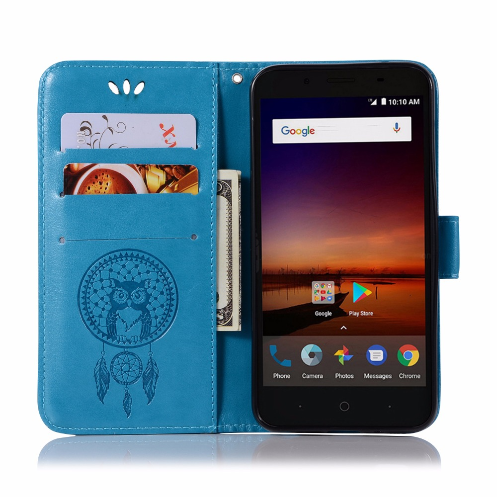 3D Pattern Owl For ZTE Avid 4 PU Leather Mobile Shell For