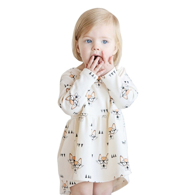 Fashion Girls Dress Fox Printed Long Sleeve A Line Childrens Party Dresses Casual Baby Girls Outfits Clothing
