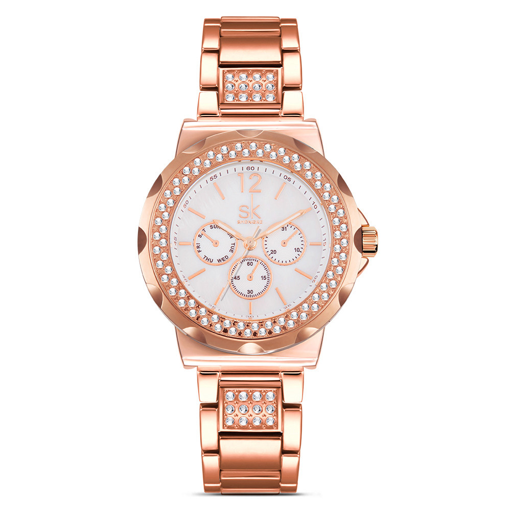 New Rose Gold Watch Women Quartz Watches Ladies Top Brand Crystal Luxury Female Wrist Watch Girl Clock Relogio Feminino nakzen quartz women watches top brand fashion ladies bracelet watch rhinestone crystal wrist watch female hers relogio feminino