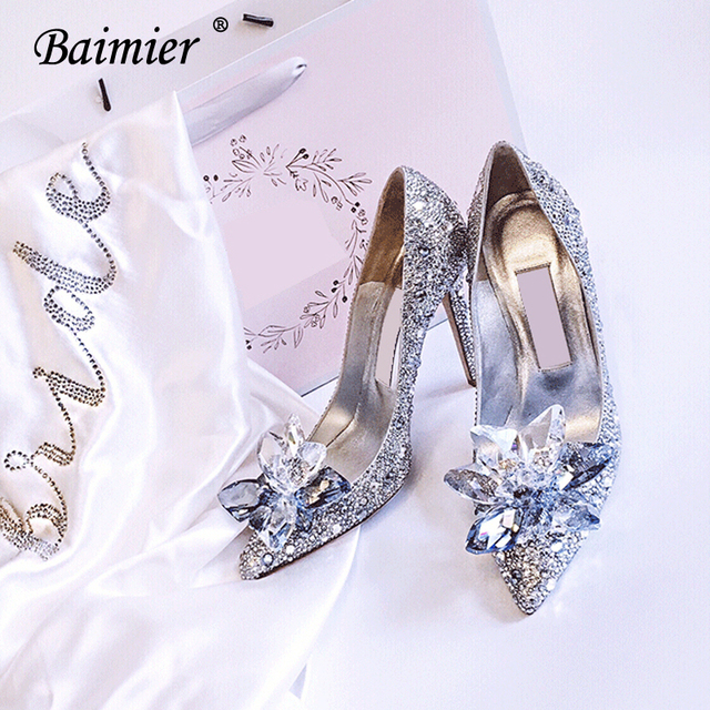 ceb359f8b6 Baimier Luxury Brand Crystal Women Wedding Shoes Rhinestone Cinderella Shoes  Women High Heel Women Pumps Plus Size 10 11 12