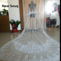 Best Selling Luxury Real Image Wedding Veils Long Veils Lace Applique Crystals Two Layers Bridal Veil Wedding Accessories