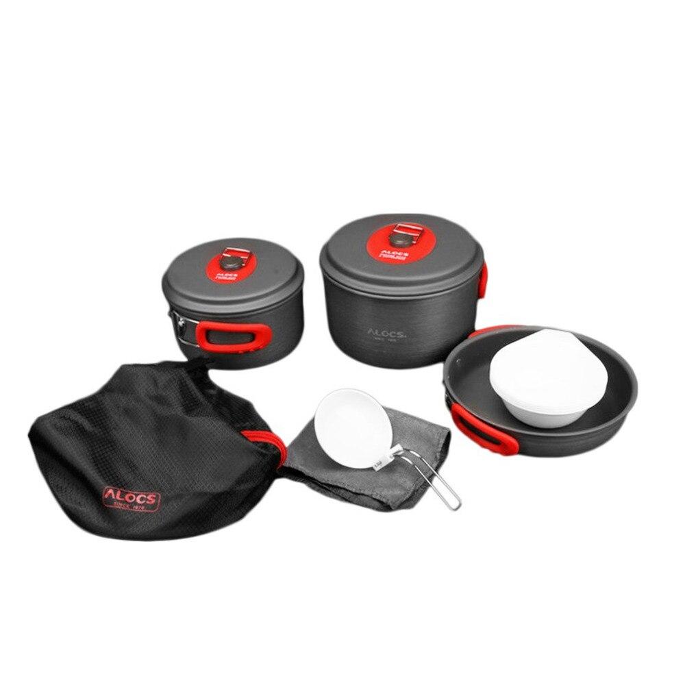 ALOCS CW C31 набор посуды для кемпинга с 3 горшками сковородки и миски посуда портативный набор инструментов для пикника для приготовления пищи для 5 6 человек