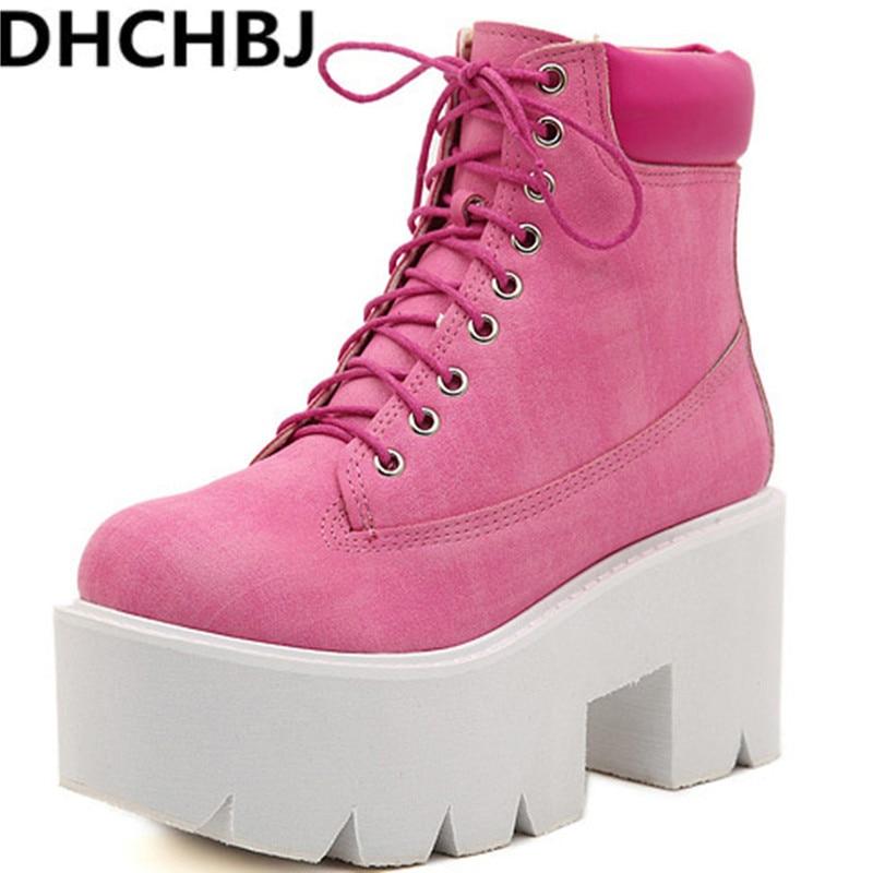 2019 bottes à lacets talons hauts femmes Style Punk, chaussures à plate-forme à fond épais, bottes en cuir de moto européenne 7 couleurs