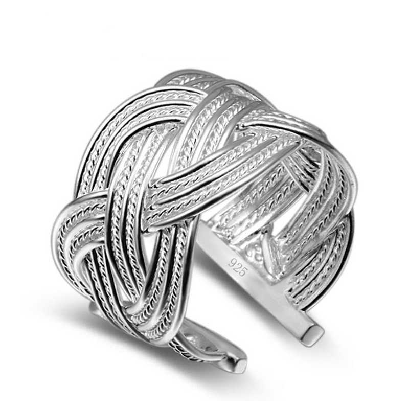 Vintage แหวนเงินแท้ 925 เครื่องประดับแหวนผู้หญิงผู้ชาย Anillos Mujer Bague Feminino Anel Bague Femme Anelli Ringen