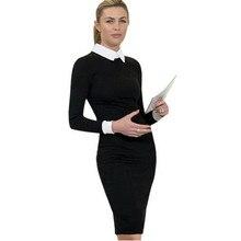 Adogirl Artı Boyutu Bayanların Gündelik Ofis Elbiseler Sonbahar Zarif Siyah Peter Pan Yaka Uzun Kollu Diz Boyu Kalem Midi Elbise