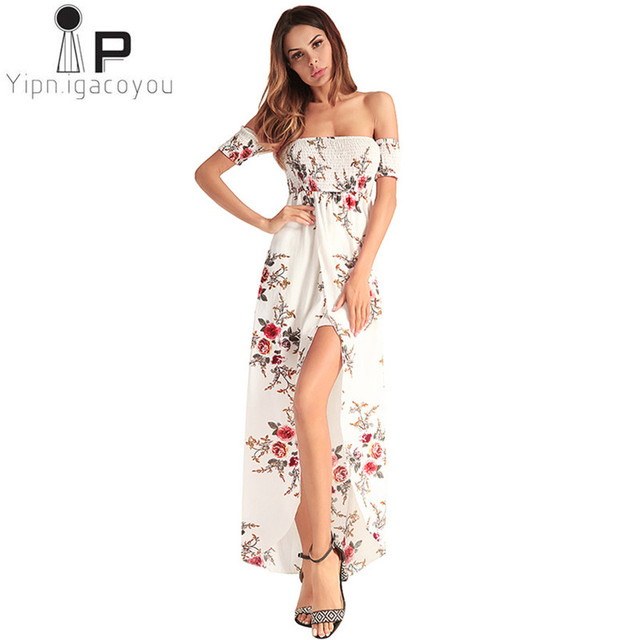 aed44051f1 2018 Summer Long Dress Sexy Women dresses plus size printing female Chiffon  Dress Bare shoulder irregular Women Elegant Dresses
