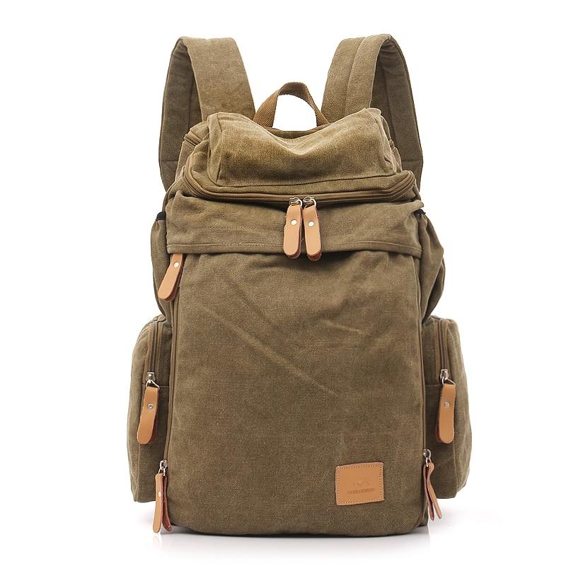 New Fashion Retro Backpacks Men And Women Backpack Canvas Bag Big Travel Bag Unisex Solid Softback Shoulder Bags 2016 men s batik canvas bag new retro simple street trend personality backpack men s bag 82050k