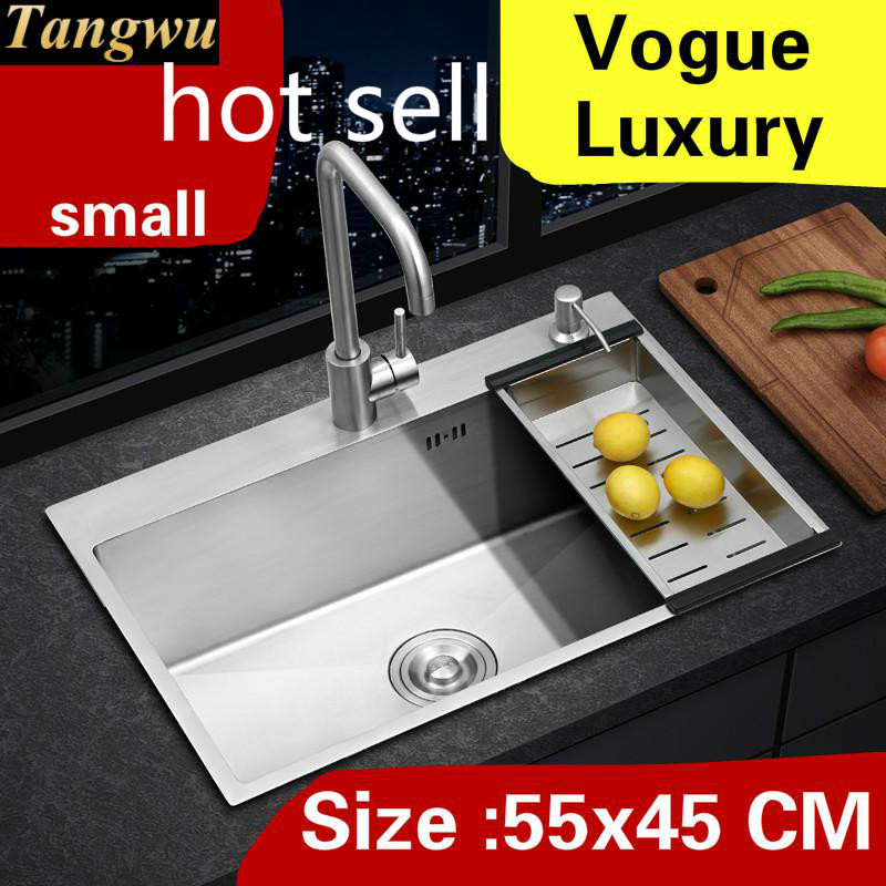 Free shipping Apartment wash vegetables high quality kitchen manual sink single trough 304 stainless steel hot sell  55x45 CMFree shipping Apartment wash vegetables high quality kitchen manual sink single trough 304 stainless steel hot sell  55x45 CM
