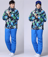 2016 Mosaic Pattern Men Outdoor Ski Skiing Suit Snowboard Snowboarding Jacket Snow Wear Ski Jacket Sets Pants+Jackets