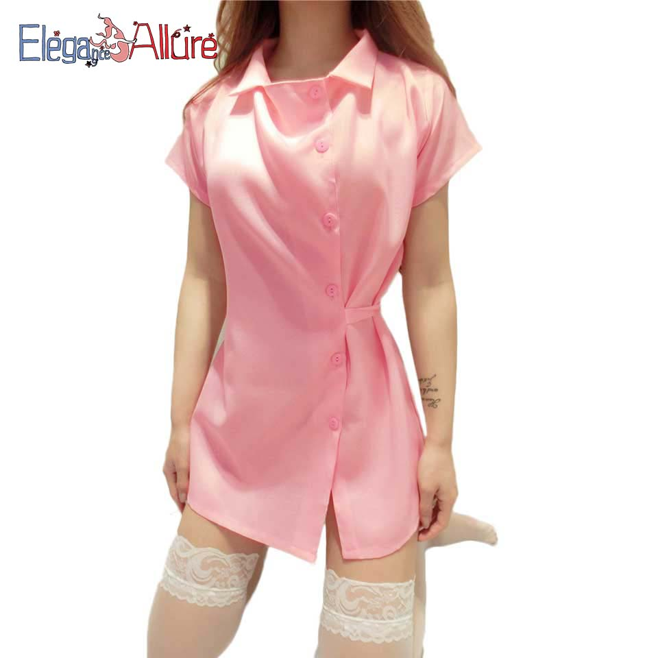 E A Sexy Lingerie Women Nightgown Sex Costume Silk Sleepwear Female Nurse Cosplay Suit Hat Dress G string Lingerie Set Role Play in Babydolls Chemises from Novelty Special Use