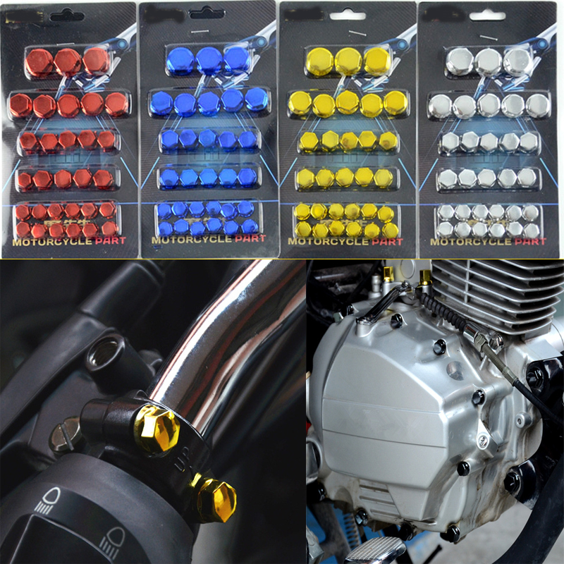 30pcs/set Chrome Plating Plasti Motorcycle Screw Nut Cover Cap Nut Bolt Decoration For Yamaha Kawasaki Honda image