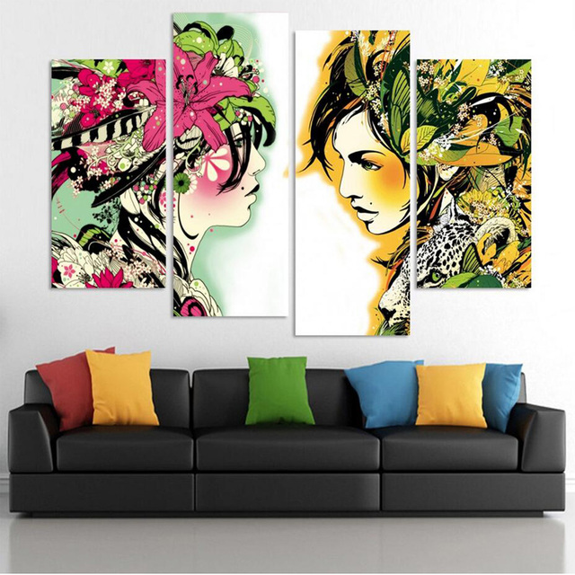 4 Pieces Beautiful Colors Woman Bedroom Oil Painting Wall Art Home ...