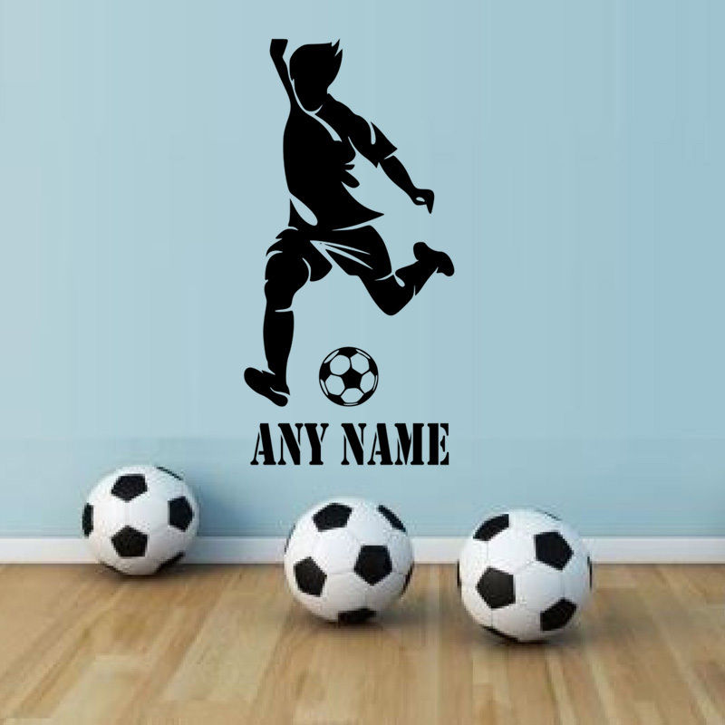 Name Wall Letters Alphabet Stickers Initial Decals Boys Sports Decor Soccer Ball
