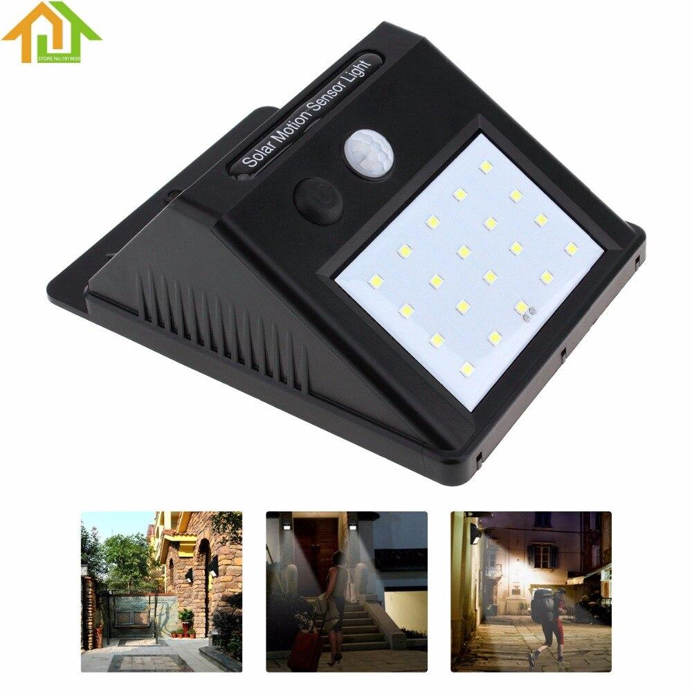 20 LED открытый Водонепроницаемый экономии Солнечный Мощность движения PIR Сенсор настенный светильник уличный фонарь сада лампа