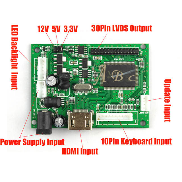 HDMI Controller Board + Backlight Inverter + 30Pins Lvds Cable + Adapter  Kit for B154EW02 - V0 V7 1280x800 1ch 6 bit LCD Display