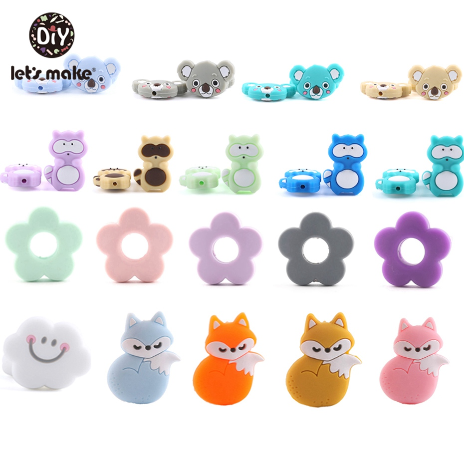 Let's Make 5pcs Cloud Silicone Beads Food Grade Materials Chew Silicone Beads Baby Accessories DIY Nursing Charm Baby Teether