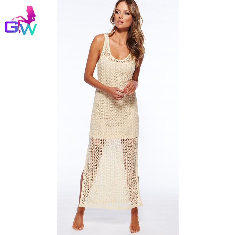 c8c7ea32f783 Women Sexy Beach Dress 2016 Summer Style Net Yarn Hollow Out Maxi Party  Dresses Sleeveless Plus Size Women Sexy Beach Long Dress-in Dresses from  Women s ...