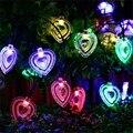 En Forma de corazón de Colores 20 LED Luz de Hadas Solar Powered Led Cadena Luz de Navidad Al Aire Libre Jardín Patio de Luz Party Decor