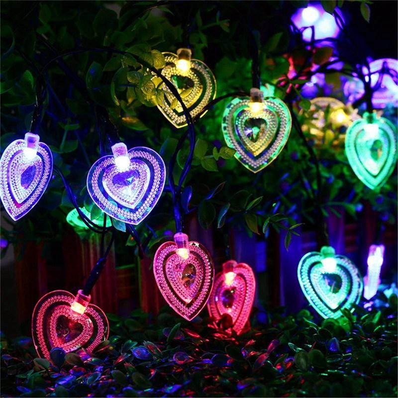 Heart Shaped Colorful 20 LED Fairy Light Solar Powered Led String Light  Christmas Outdoor Garden Patio