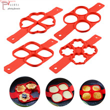Nonstick Pancake Maker 4 Grids Silicone Kitchen Mold Pan Flip Egg mold  Cooking Tool Easy Fried Round Heart Ring kitchen tools