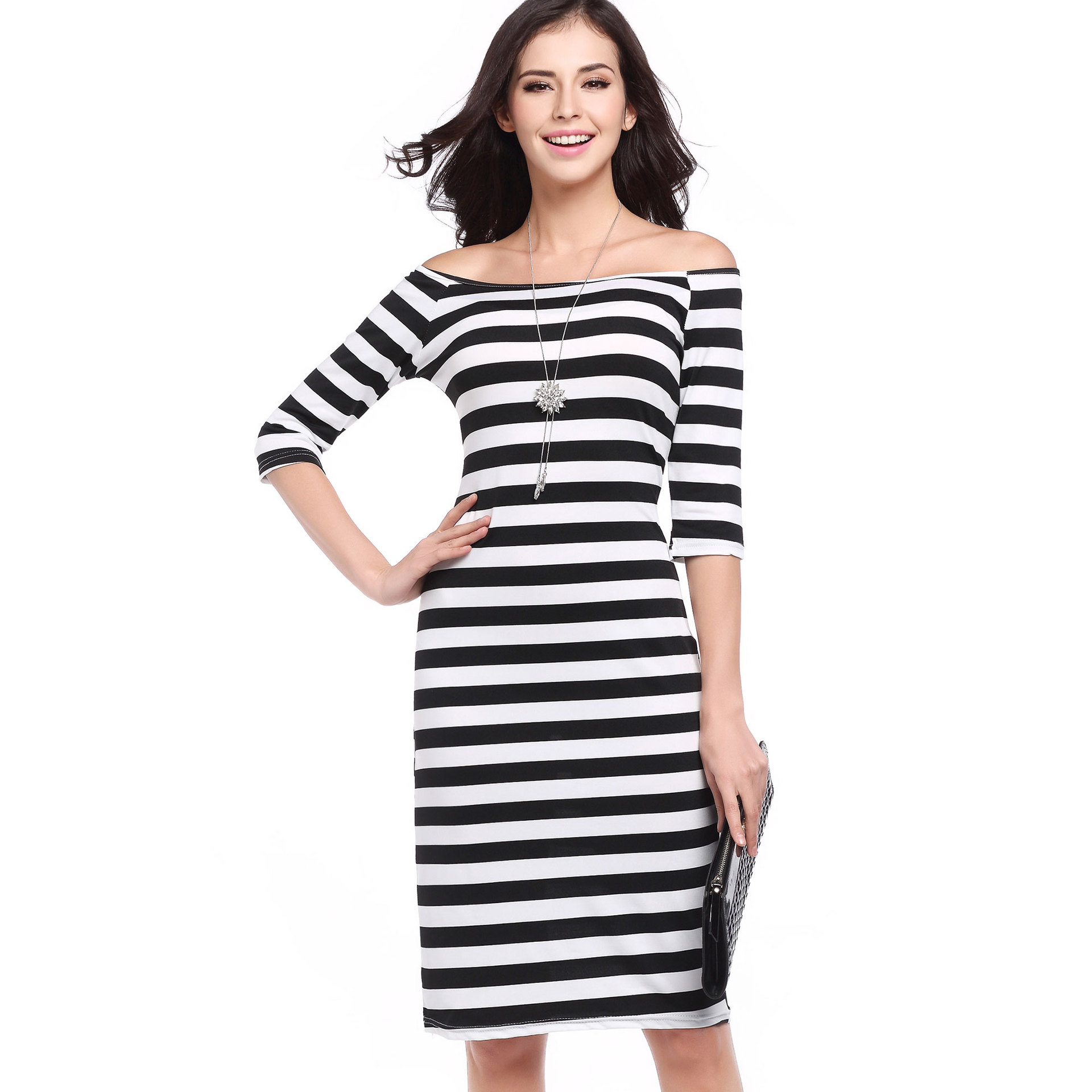 89a0c861df2 Women Striped Dress White Black Summer Casual Sundress Open Back Dress  Sheath Half Sleeve Bodycon Dresses Female Robe Vestidos