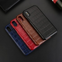 CYBORIS Fashion 3D Crocodile Skin Pattern Genuine Leather Back Cover For Iphone X 5 8 Luxury