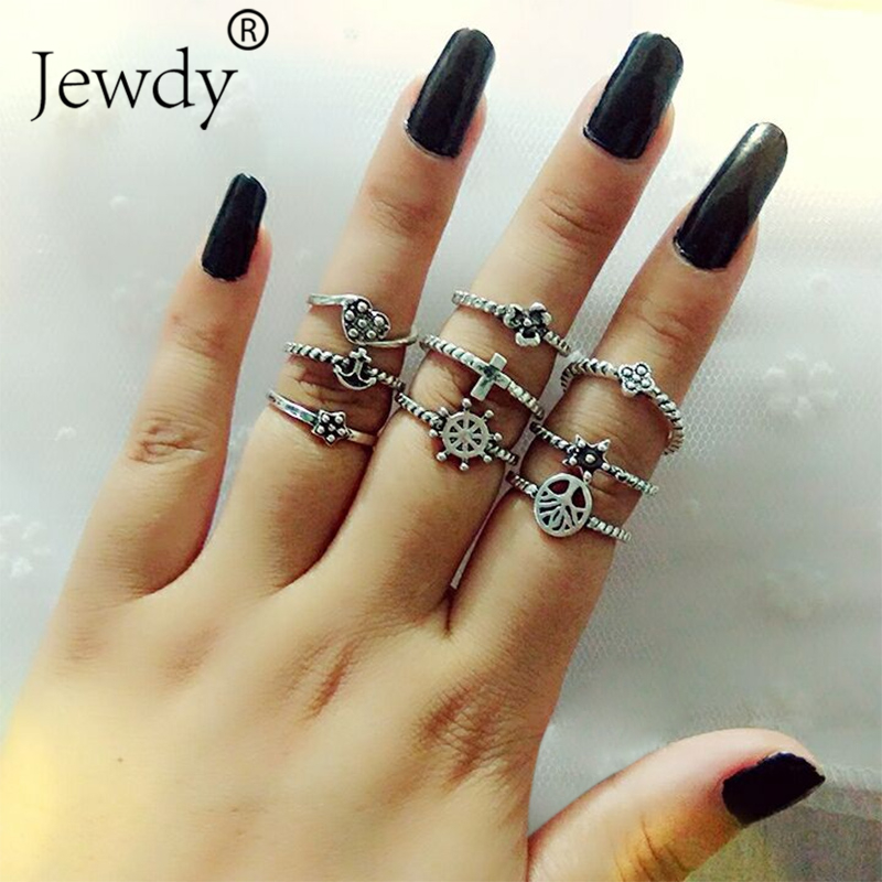 Jewdy 9PCS/SET Lotus Star Tree Cross Ring Lot for Women Anillos Punk Vintage Retro Finger Knuckle Midi Rings Party Boho Jewelry