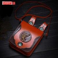 New Messenger Bag Handmade Pouch First Layer Leather Tree Cream Pocket Waist Bag Retro Multi purpose shoulder Bags