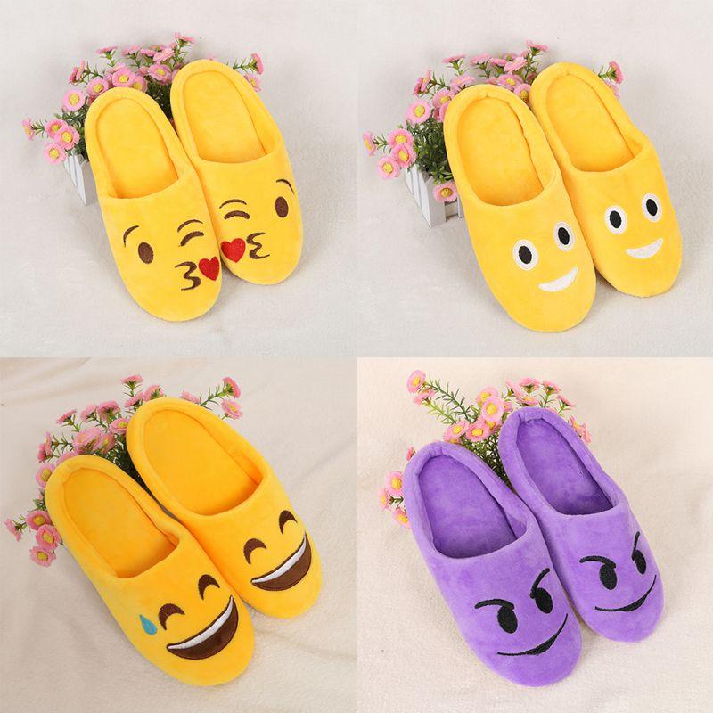 Winter Soft Cartoon Shoes Indoor Warm Emoji Slippers Winter Cotton Plush Slipper Emoji Shoes Smiley Emoticon