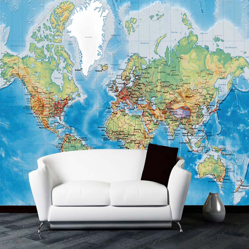 3D Wallpaper For Walls Custom Wall Mural Non-woven Wall Paper Modern World Map Living Room Sitting Room Sofa Backdrop Home Decor custom 3d photo wallpaper natural mural waterfalls pastoral style 3d non woven straw paper wall papers living room sofa backdrop